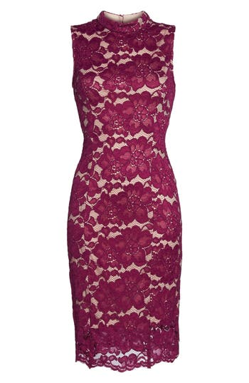 Adrianna Papell Twin Flower Lace Sheath Dress, Burgundy