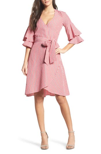 Charles Henry Ruffle Wrap Dress, Red