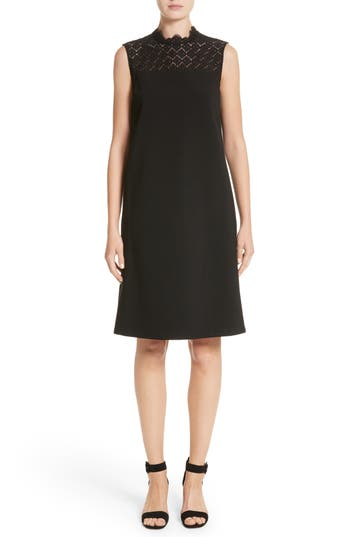 Lafayette 148 New York Ines Lace Trim Shift Dress, Size Petite - Black
