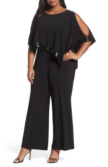 Plus Size Adrianna Papell Matte Jersey Capelet Jumpsuit, Black