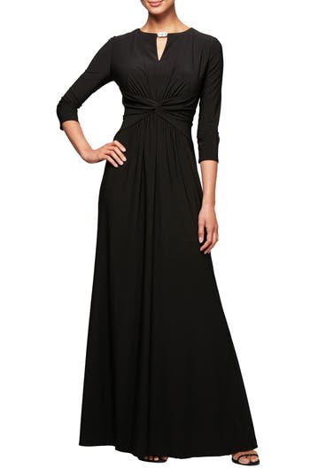 Alex Evenings Ruched Waist A-Line Gown, Black