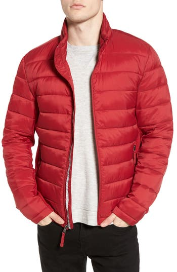 Black Rivet Water Resistant Packable Puffer Jacket, Red