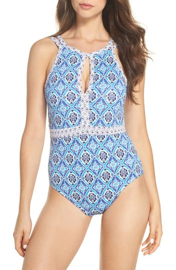 Tommy Bahama Tika Tiles Cutout One-Piece Swimsuit, Blue