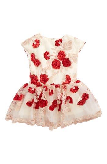 Infant Girl's Halabaloo Floral Sequin Dress, Size 24M - Red