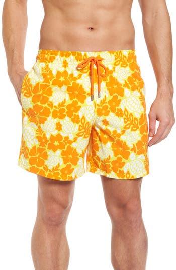 Vilebrequin Moorea Hawaiian Turtles Swim Shorts, Yellow