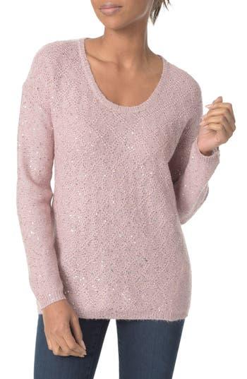 Women's Nydj Sequin Scoop Neck Sweater, Size Large - Pink