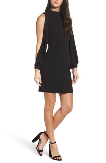Charles Henry Split Sleeve Shift Dress, Black