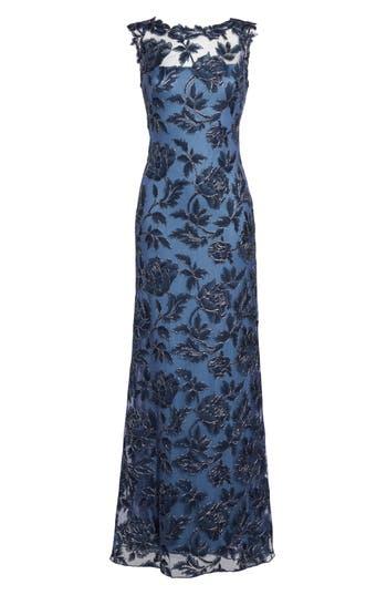 Tadashi Shoji Embroidered Mesh Gown, Blue