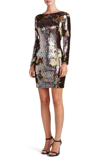 Dress The Population Lola Ombre Sequin Body-Con Dress, Metallic