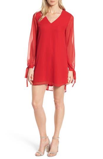 Halogen Tie-Sleeve Shift Dress, Red