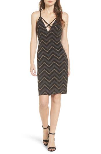 Love Nickie Lew Metallic Chevron Stripe Midi Dress, Black