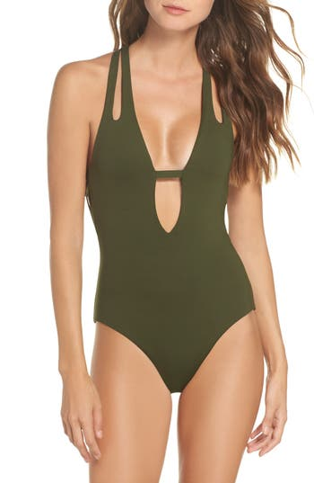 Becca Color Code Plunge One-Piece Swimsuit, Green