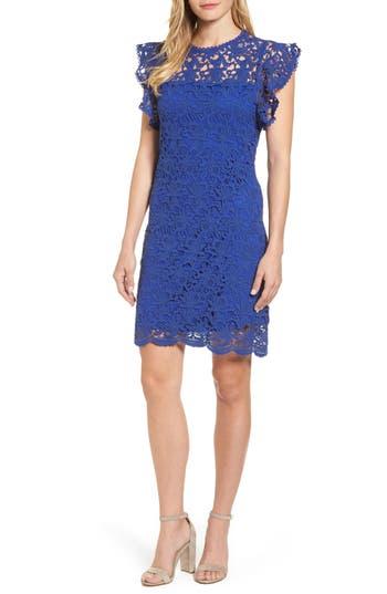 Velvet By Graham & Spencer Flutter Sleeve Lace Sheath Dress, Blue