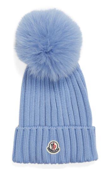 Moncler Genuine Fox Fur Pom Wool Beanie