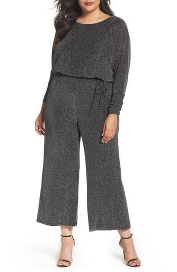 Plus Size Eliza J Metallic Knit Jumpsuit, Black