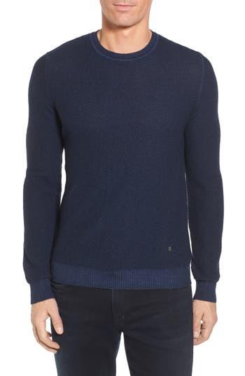 Stone Rose Honeycomb Merino Crewneck Sweater, (m) - Blue