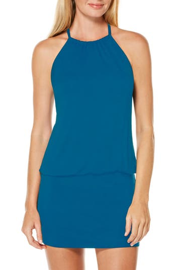 Laundry By Shelli Segal Blouson Cover-Up Dress, Blue/green