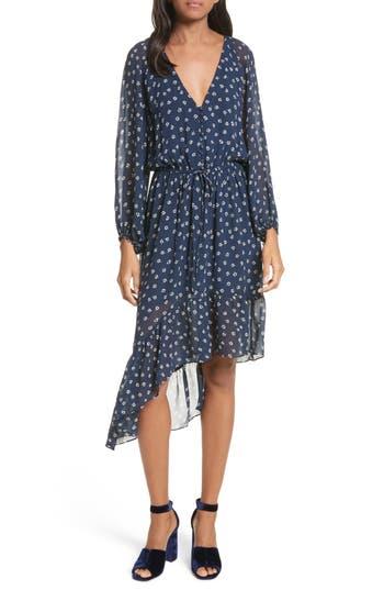 Joie Alithea Print Silk Asymmetrical Dress, Blue