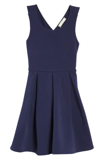 Girl's Soprano Skater Dress, Size S (8-10) - Blue