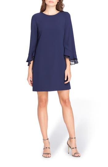 Petite Tahari Lace Detail Crepe Shift Dress, Blue