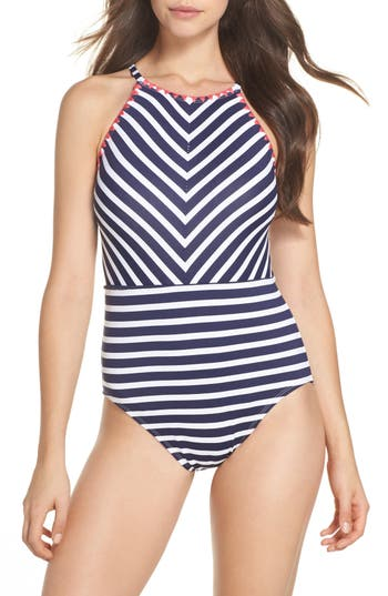 Tommy Bahama Breton Stripe One-Piece Swimsuit, Blue