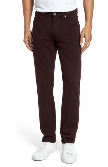 Paige Transcend - Federal Slim Straight Fit Jeans, Burgundy