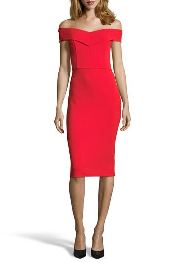 Eci Off The Shoulder Sheath Dress, Red