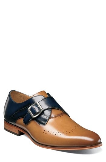 Stacy Adams Saxton Perforated Monk Strap Shoe
