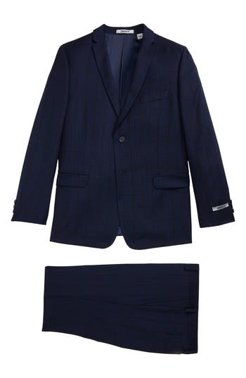 Boy's Dkny Windowpane Wool Suit