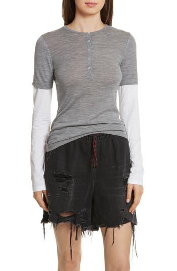 T By Alexander Wang Knit Merino Wool Layered Top, Grey
