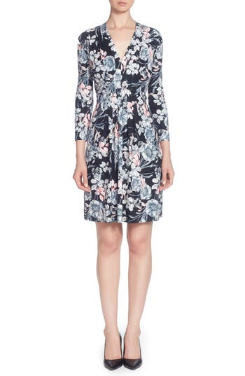 Catherine Catherine Malandrino Tinka Print Jersey V-Neck Fit & Flare Dress, Black
