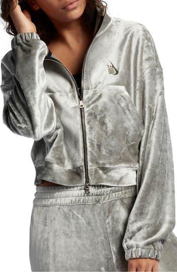 Nike Nikelab Essentials Velour Zip Hoodie, Grey