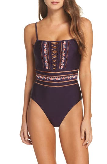 Becca In The Mix One-Piece Swimsuit, Purple