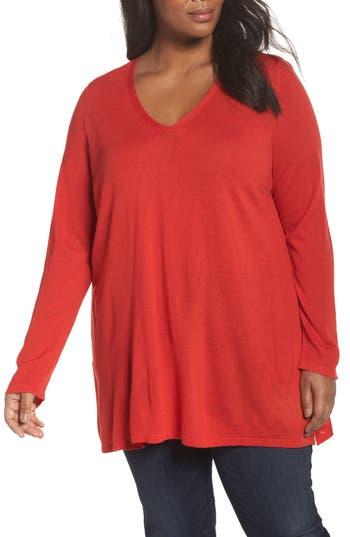 Plus Size Eileen Fisher Merino Wool Tunic Sweater, Orange