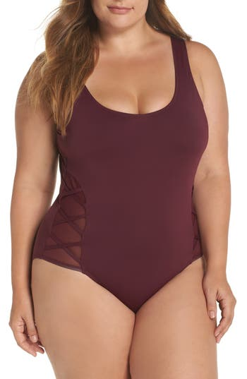 Plus Size The Bikini Lab Mio One-Piece Swimsuit, Burgundy