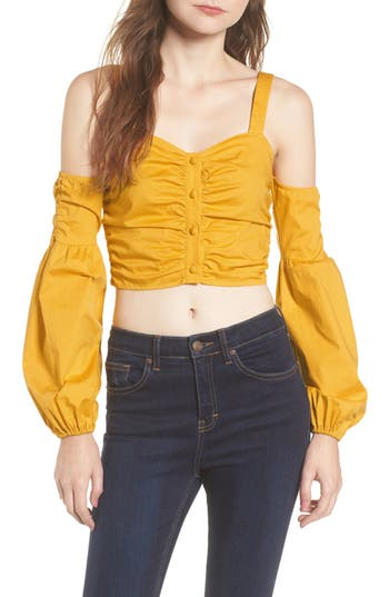 Women's Tularosa Charlie Cold Shoulder Crop Top, Size X-Small - Yellow