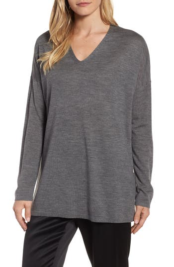 Eileen Fisher Merino Wool Tunic Sweater, Grey