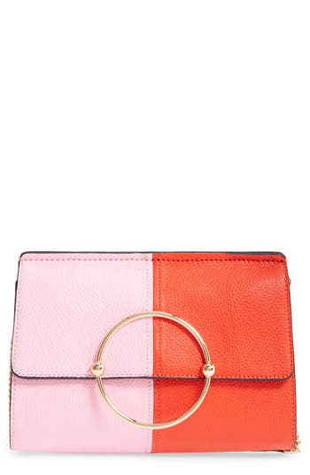 Milly Astor Pebbled Leather Flap Clutch - Orange at NORDSTROM.com