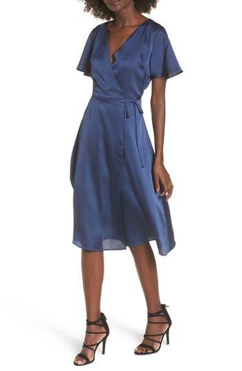 J.o.a. Satin Wrap Dress, Blue