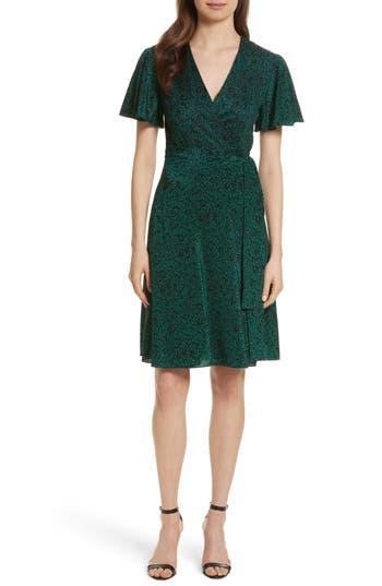 Women's Diane Von Furstenberg Flutter Sleeve Silk Wrap Dress, Size 0 - Green