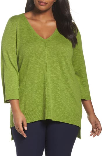 Plus Size Women's Eileen Fisher Organic Linen & Cotton High/low Sweater, Size 1X - Green
