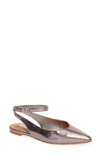 Steve Madden Cupid Ankle Strap Flat- Metallic