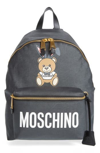 Moschino X Playboy Large Bunny Bear Woven Backpack - Black
