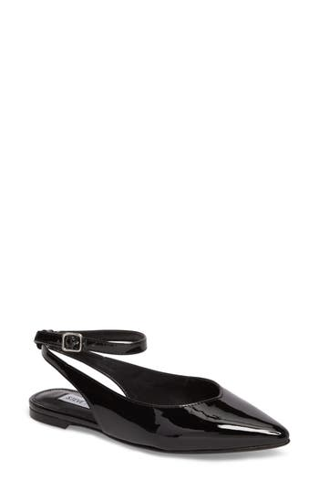 Steve Madden Cupid Ankle Strap Flat- Black