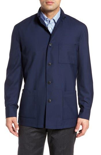 David Donahue Loro Piana Rain System Water-Repellent Wool Shirt Jacket, Blue