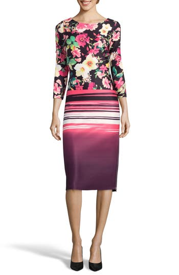 Eci Print Sheath Dress, Pink