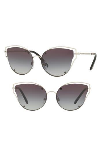 Women's Valentino 58Mm Layered Frame Aviator Sunglasses - Havana