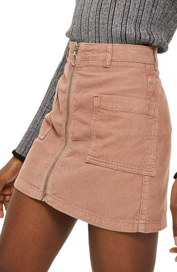 Topshop Zip Through Corduroy Skirt, US (fits like 6-8) - Pink