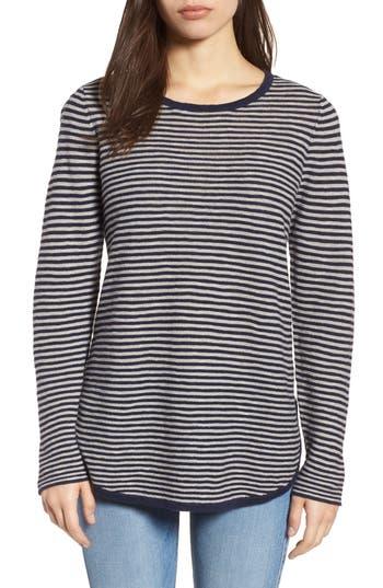 Women's Eileen Fisher Stripe Organic Linen & Cotton Sweater, Size XX-Small - Blue