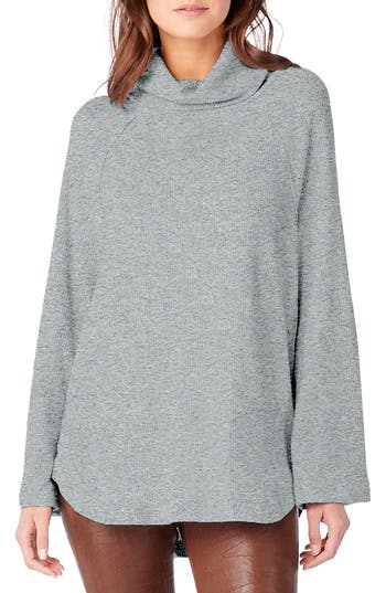 Michael Stars Ribbed Turtleneck Top, Grey